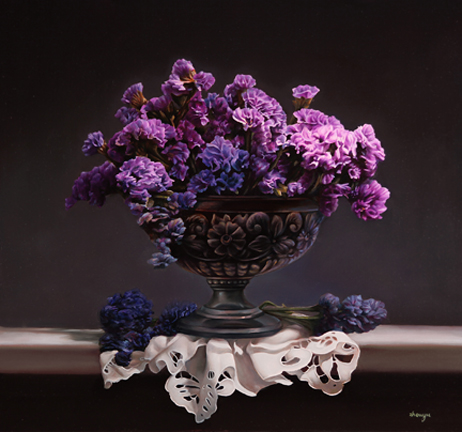 Purple Flowers in Silver Tray 24