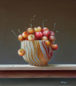 "Cherries in Stone Bowl 16""x14"" Oil on Linen"