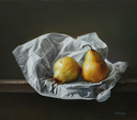 "Two Pears vs Paper Wrap 14""x16"" Oil on Linen"