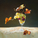 "Grapes and Leaves 20""x20"" Oil on Linen"