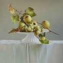 "Apples and Grapes on White 30""x30"" Oil on Linen"