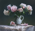 "Peonies in Porcelain Jar 34""x30"" Oil on Linen"
