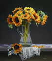 "Sunflowers in Glass Pitcher 24""x28"" Oil on Linen"