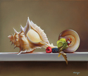 "Seashells on White Board 14""x12"" Oil on Linen"
