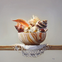 "Seashells in Stone Bowl 30""x30"" Oil on Linen"